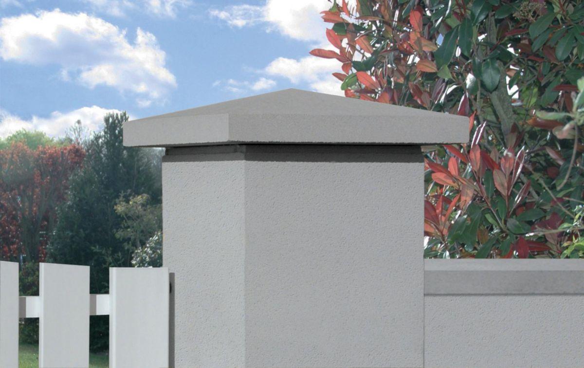Habiller Un Pilier En Beton chapeau pointe de diamant - pierre reconstituée ton gris - 50x50 cm