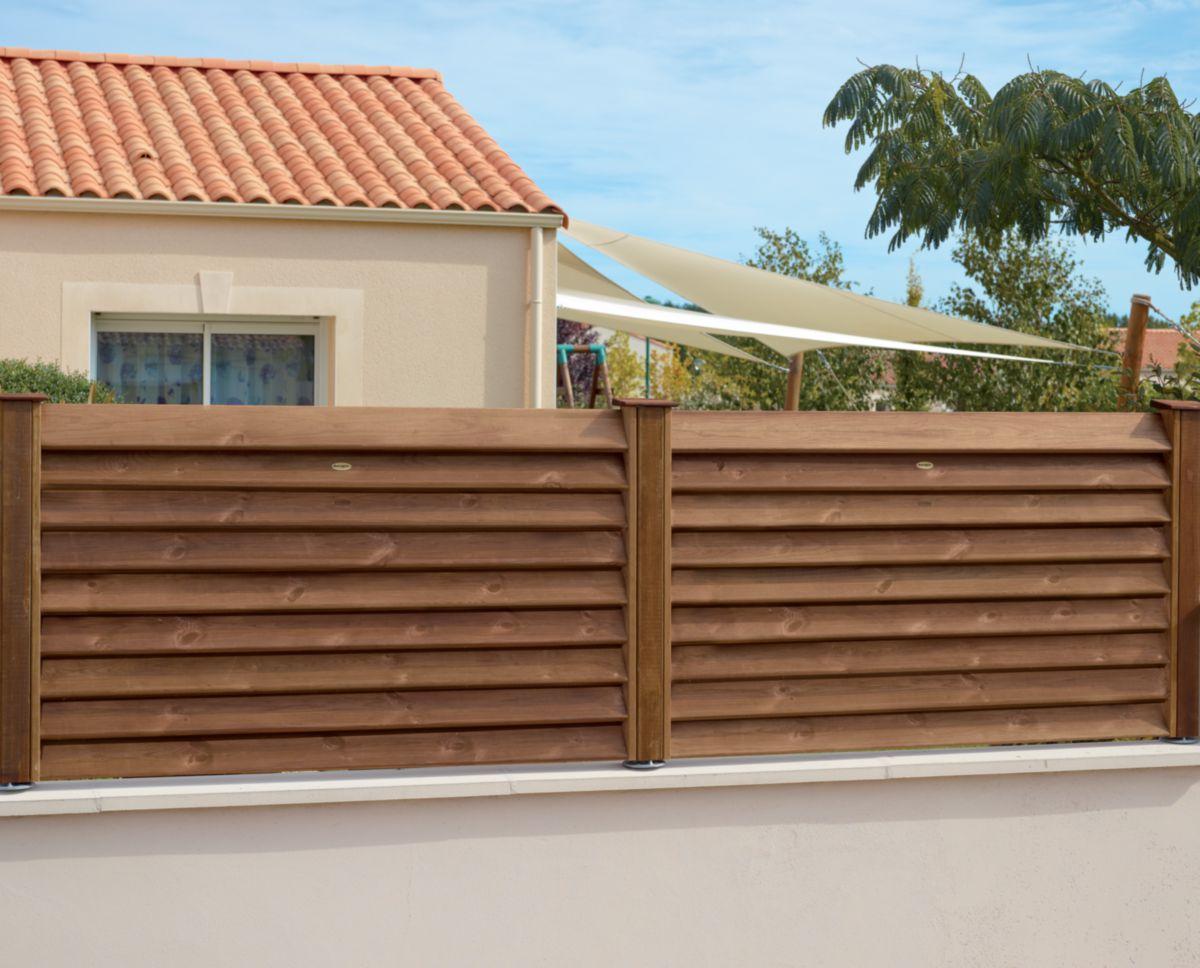Bois Pour Exterieur Classe 4 demi-panneau de clôture pin cancale - traité classe 4 marron - h. 0,90 m -  l. 1,50 m - ép. 9 mm