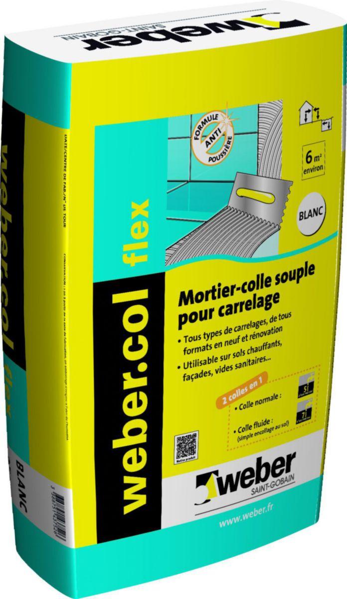 Mortier Colle Pour Carrelage Grand Format Webercol Flex Blanc Sac De 25 Kg