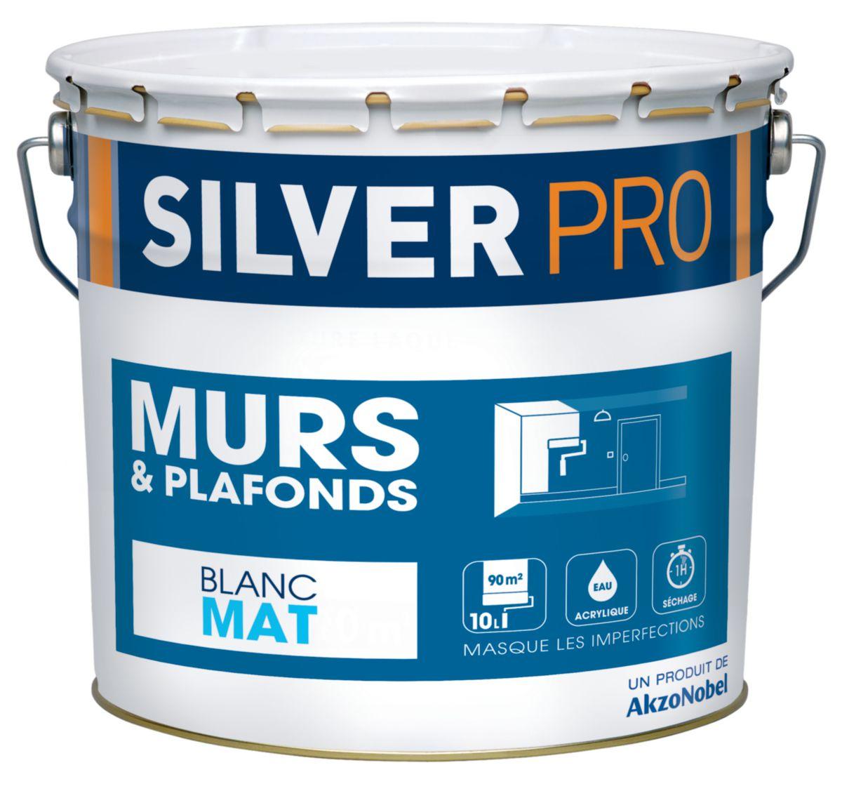 Peinture Mur Et Plafond Silverpro Am85 Blanc Mat Pot De 10 L